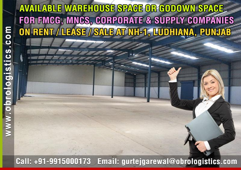 warehouse on rent godown space for rent lease in ludhiana punjab +91-9915000173 www.obrologistics.com
